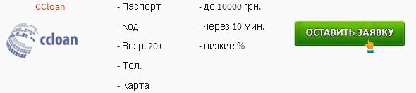 CCloan Займ денег на карту онлайн в Украине