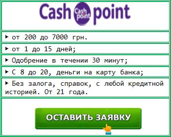 Cash Point: деньги до зарплаты на карту онлайн срочно