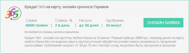 Кредит 365 на карту в Украине