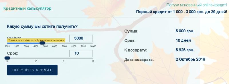 Вот и все! Осталось только получить деньги: кредитный калькулятор на официальном сайте Глория Фин